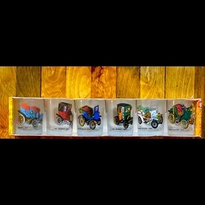6 Shot Glasses With Antique Cars